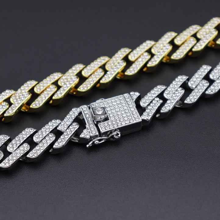 Diamond Straight Edge Link Chain   Silver   13mm x 45cm