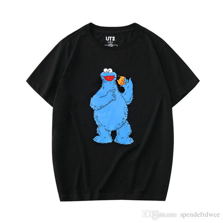 Футболка Kaws x Sesame Street  Cookie Monster Black (Vega)
