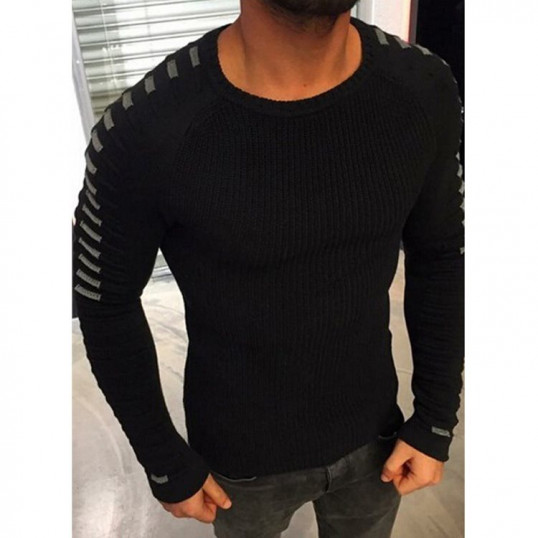 Knitted Striped Pleated Sweater   Black
